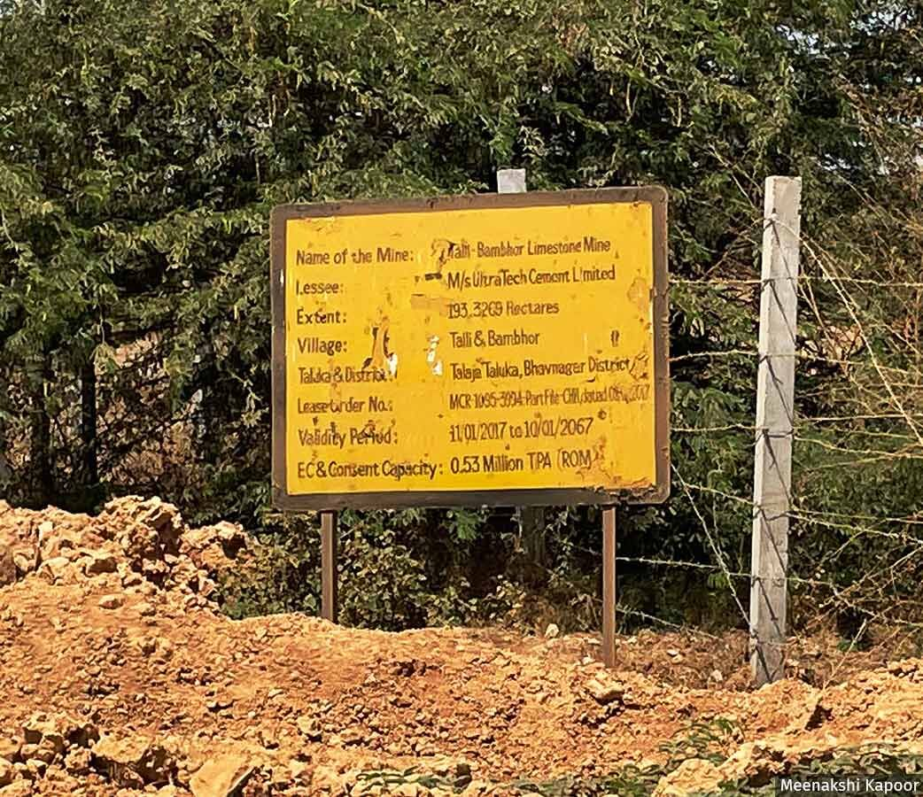 The site of the limestone mining by UltraTech in Bambhor village in Gujarat's Bhavnagar district.