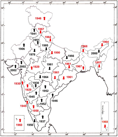 Red colour indicates a significant change while the arrows represent an increase or decrease in the amount of southwest monsoon rainfall. Source: Observational analysis of Heavy rainfall during southwest monsoon over Indian region, Pulak Guhathakurta, in High-Impact Weather Events over the SAARC Region published in 2014.