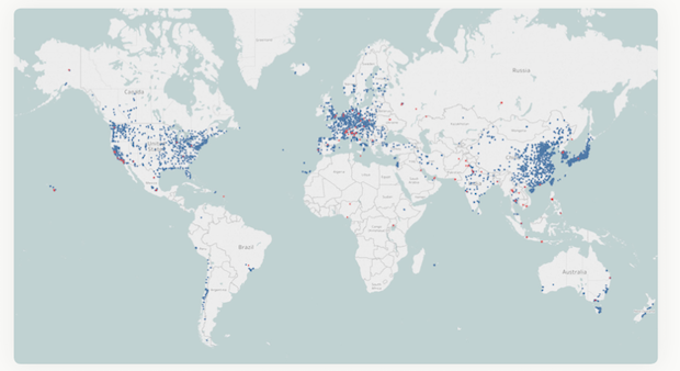 Source: 2018 World Air Quality Report  Note: Blue dots indicate government stations and red dots indicate data from independently operated air monitors used in the report.