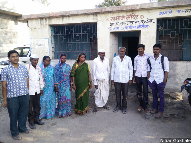 Dalit families gather near a community centre in Gharegaon in Maharashtra's Osmanabad district. Credit: Nihar Gokhale/IndiaSpend