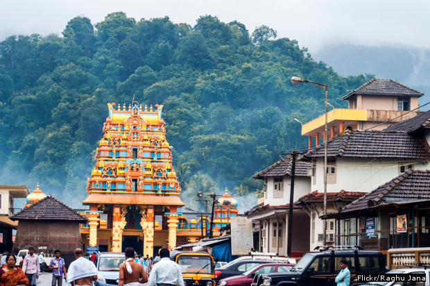 The temple gopura at Kukke Subrahmanya temple in Dakshina Kannada district, Karnataka. Subrahmanya, the son of Lord Shiva, is worshipped as the lord of snakes here.