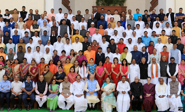 The Prime Minister, Shri Narendra Modi in a group photograph with the Members of 16th Lok Sabha, in New Delhi on March 18, 2015.