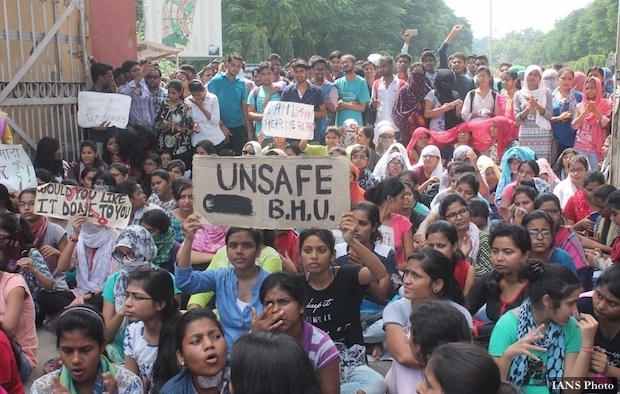 Varanasi: Students of Banaras Hindu University (BHU) stage a protest against the molestation of a student inside the campus in Varanasi on Sept 23, 2017. (Photo: IANS)