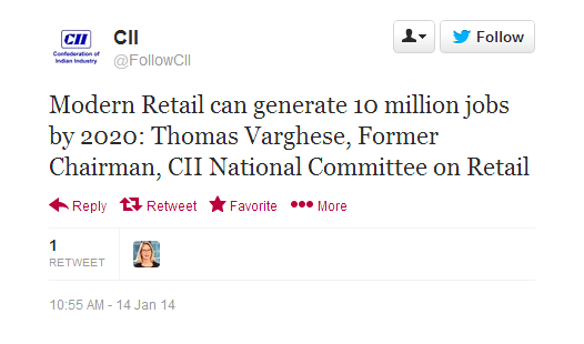 CII JOBS QUOTE FDI