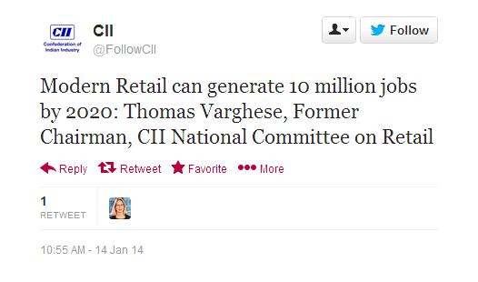 CII JOBS QUOTE FDI