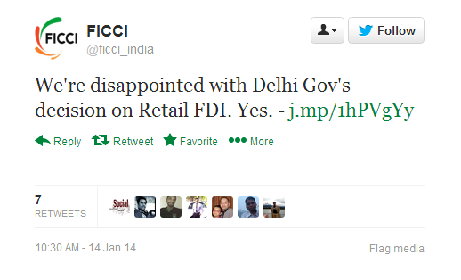 FICCI QUOTE ON FDI IN RETAIL