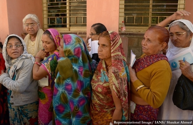 Ajmer : Senior citizens wait in a queue at a bank to exchange old notes in Ajmer on Nov. 19, 2016. (Photo: Shaukat Ahmed/IANS)