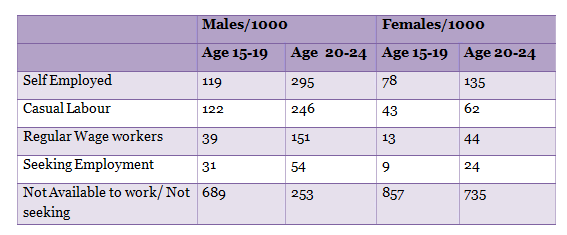 Employment Status of Youth 68th NSSO Survey Graph Report by India Spend news and Data Journalism