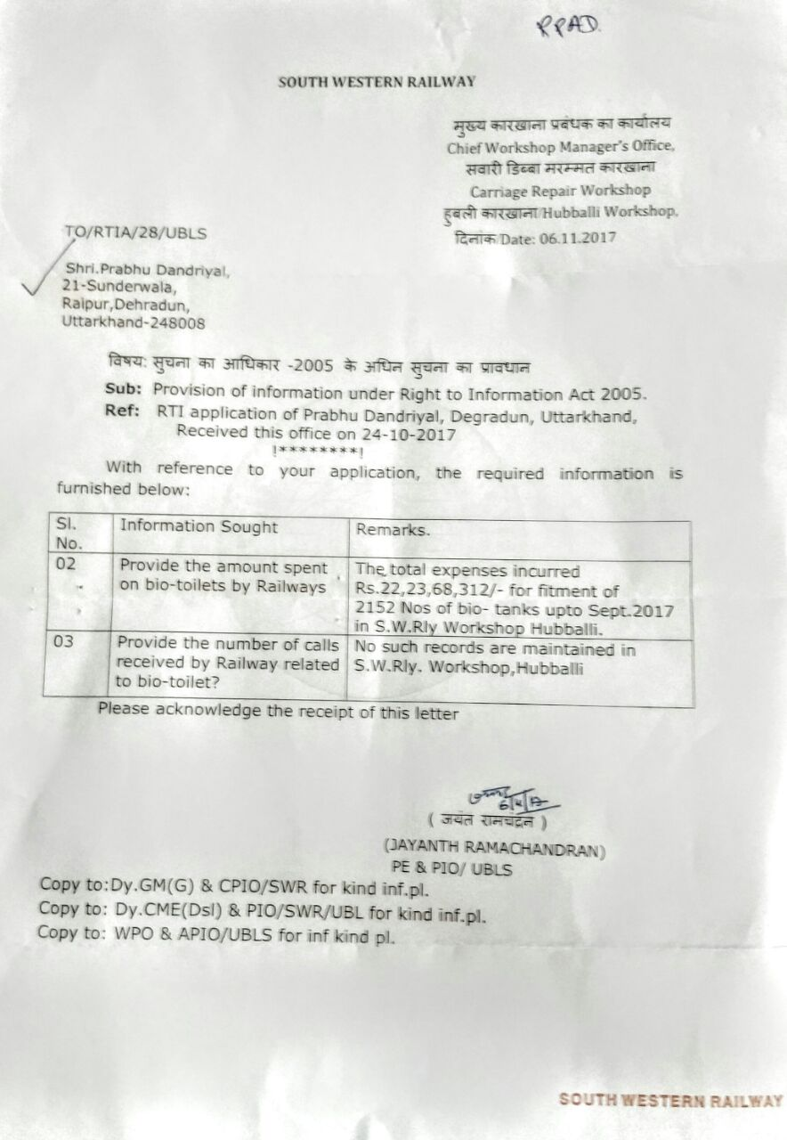 RTI reply from Hubbali