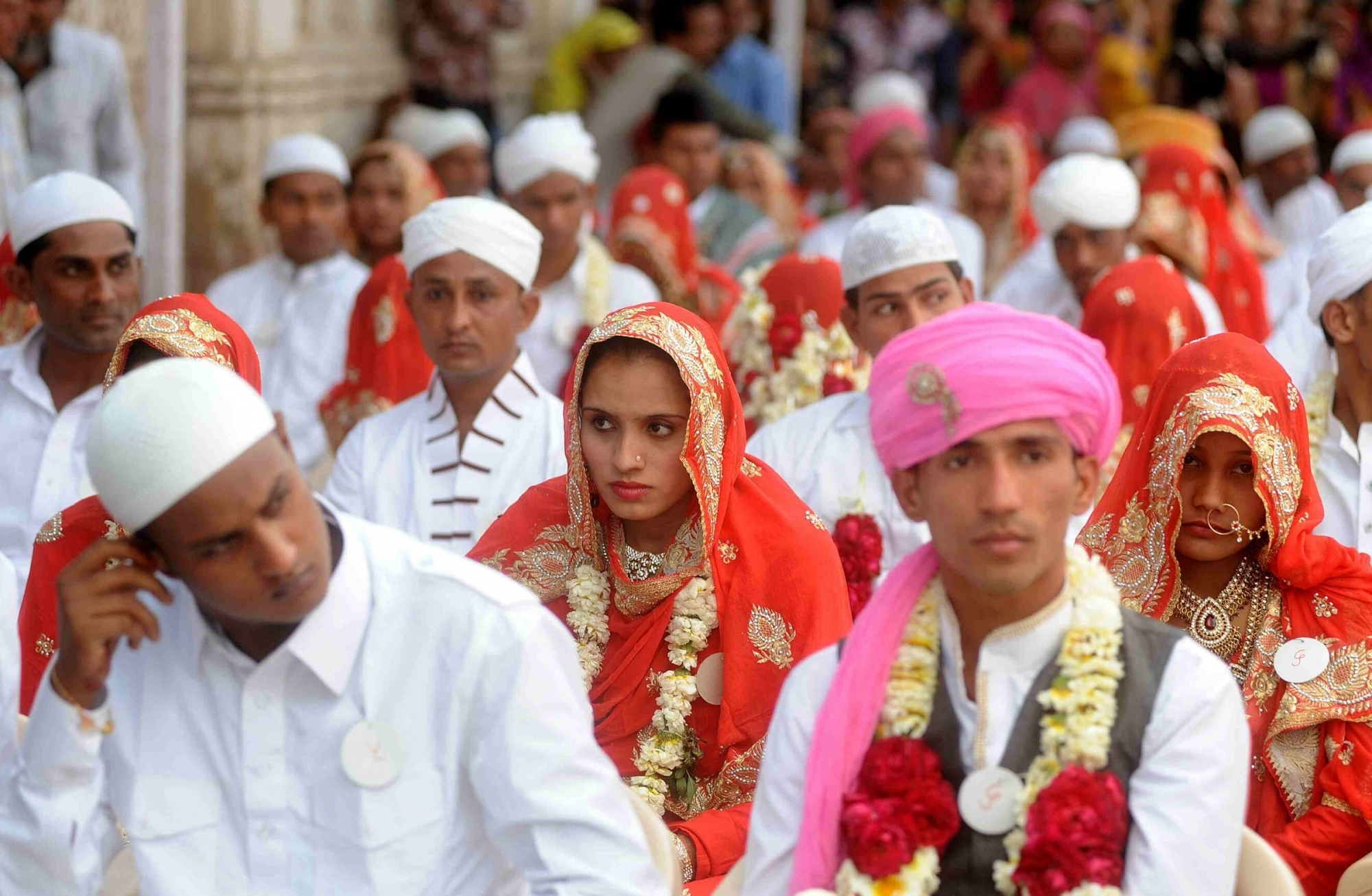Ahmedabad: The newlywed couples during a mass marriage organised by the Hussaini Vaqf Committee in Ahmedabad on Jan 22, 2016. (Photo: IANS)
