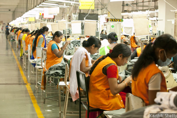 A production line of Shahi Exports Pvt. Ltd. in Bengaluru. PACE, a life-skills training programme, was piloted in 2007 in Shahi factories, which now cumulatively employ more than 110,000 people.