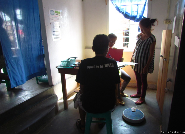 A 53-year-old female injecting drug user, once a government school teacher, gets a medical check-up at a drop-in center run by an NGO, the Society for HIV/AIDS and Lifeline Operations in Churachandpur district of Manipur. She is HIV positive and has been on Anti-retroviral Therapy since 2006. She continues to inject heroin everyday.