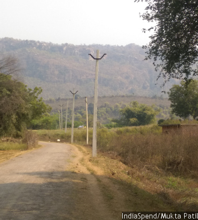 A subcontractor has laid out poles but there are no wires, in Belach village, Sonbhadra district, eastern Uttar Pradesh. Work has not progressed for the past four months, and the subcontractor has disappeared.