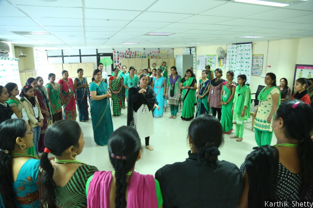 A training session under a life-skills training programme, PACE, underway at Shahi Exports Pvt. Ltd., Bengaluru. Through two-hour sessions every week for 11 months, conducted by qualified PACE trainers, the programme teaches workers how to, among other things, manage time productively and communicate effectively.