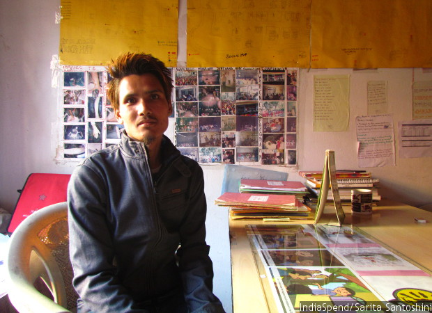 Bishal Sherpa, a former drug user and outreach worker in Jorethang-based NGO Hope Foundation, at their office. Sherpa lost his younger brother, Vicky, also a drug user, to suicide in 2015.